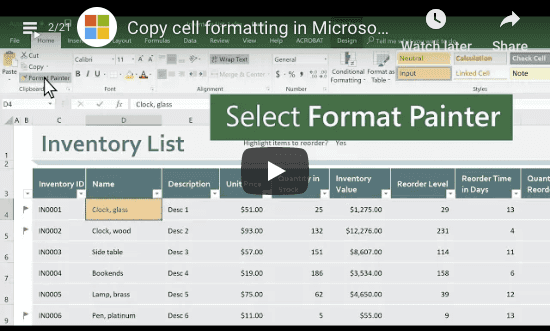 Copy Cell Formating Excel