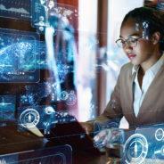 Businesswoman Using Cloud Primer Cloud Services